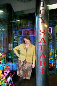 Helen Dean in front of her store, Toy Safari